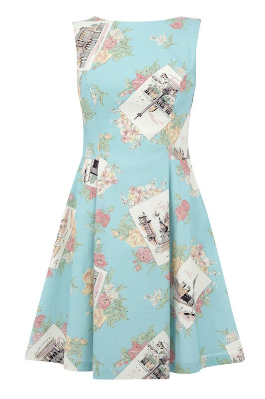 37cc1d471e16 ... are below: a beautiful flared shift dress in a flirty postcard print,  in vintage-inspired colours, and this white circle skirt with city print.